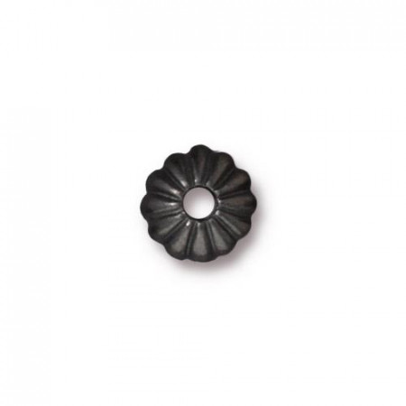 Шапочка обниматель для бусин, лепесток, вороненая сталь, 10х3мм