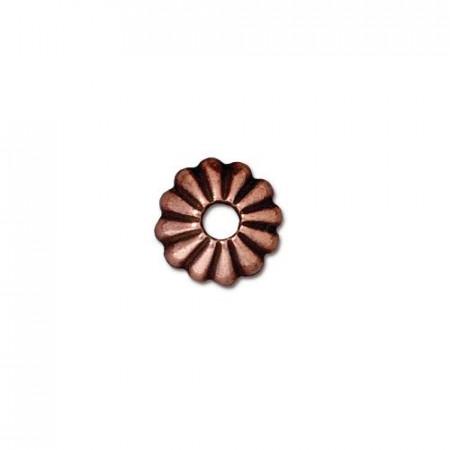 Шапочка обниматель для бусин, лепесток, медь с чернением, 10х3мм