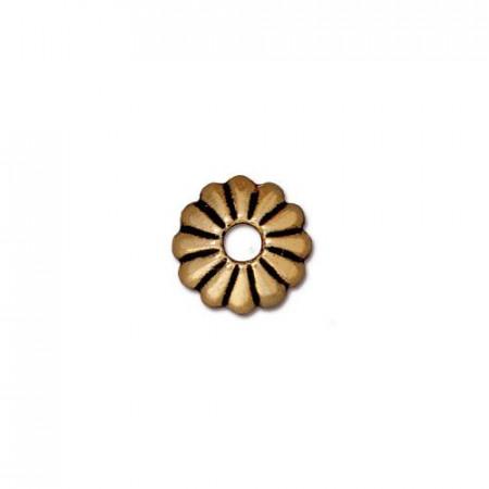Шапочка обниматель для бусин, лепесток, позолоченный с чернением, 10х3мм