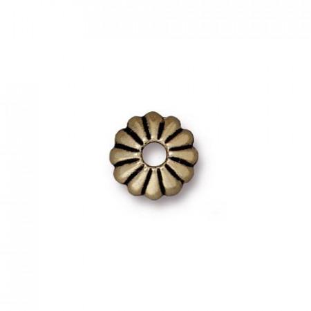 Шапочка обниматель для бусин, лепесток, бронзовый  с чернением, 10х3мм