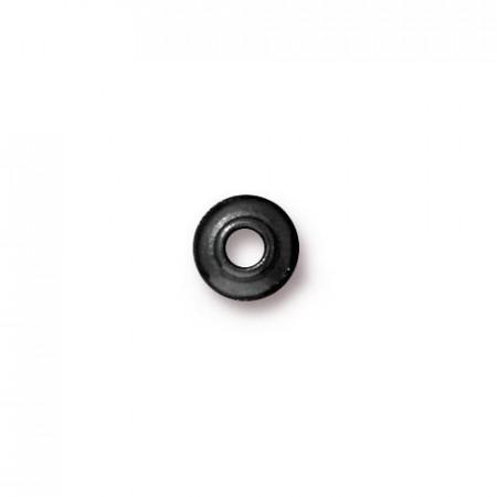 Шапочка для бусин разделитель, круглая классическая гладкая, вороненая сталь, 6,7мм