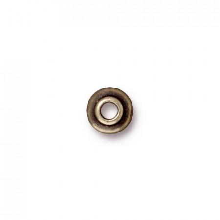 Шапочка для бусин разделитель, круглая классическая гладкая, бронзовый  с чернением, 6,7мм