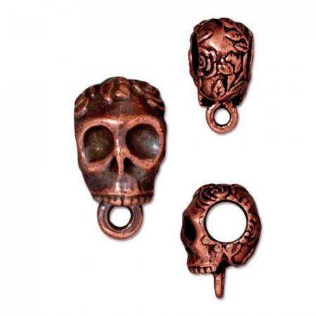 Бейл держатель, череп, медь с чернением, 16х8мм