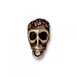 Бейл держатель, череп, бронзовый  с чернением, 16х8мм