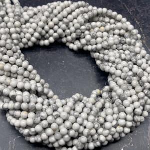 Каменные бусины, Кахолонг, шарик гладкий, 4 мм, длина нити 38 см