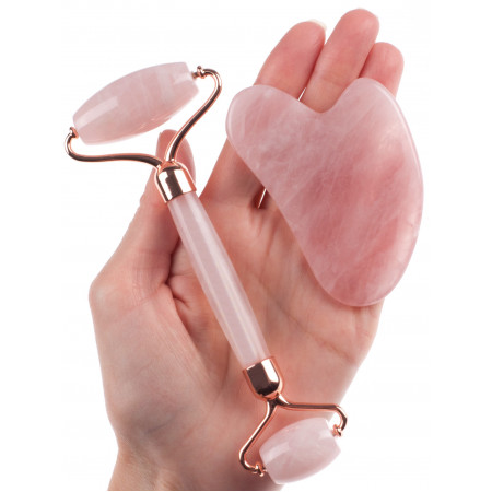 """Набор  из розового кварца. Роллер-массажер + скребок """"Сердце"""" для массажа Гуаша,145 x 60 x 20 мм"""