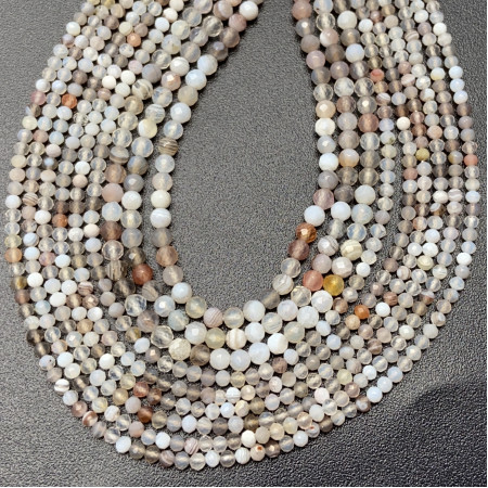 Каменные бусины, Агат Ботсвана, шарик огранка 2 мм, длина нити 38 см