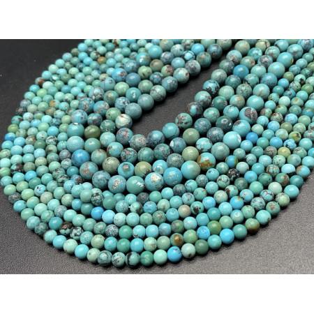 Каменные бусины, Бирюза, шарик гладкий, 4 мм, длина нити 38 см