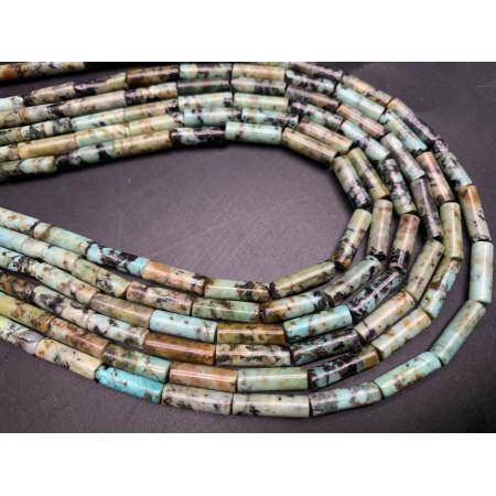 Каменные бусины, Африканская Бирюза, трубочки, 13х4 мм, длина нити 38 см