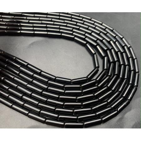 Каменные бусины, Агат, чёрный, тонированный, трубочки, 13х4 мм, длина нити 38 см