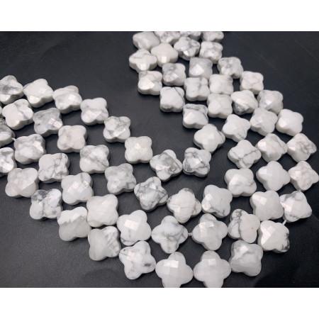 Каменные бусины, Кахолонг, клевер, в огранке, 13х6 мм, длина нити 19 см, 15 бусин