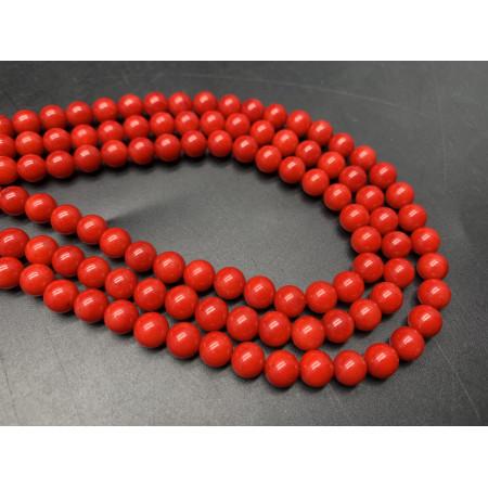 Каменные бусины, Коралл, красный, тонированный, шарик, гладкий, 5,5-6 мм, длина нити 38 см