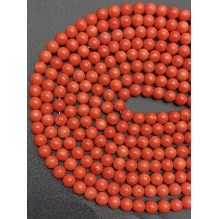 Каменные бусины, Коралл, оранжевого цвета, шарик гладкий, 8 мм, длина нити 38 см