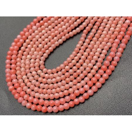 Каменные бусины, Коралл, розовый, шарик гладкий, 2,5-3 мм, длина нити 38 см