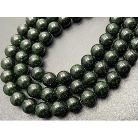 Каменные бусины, Авантюрин, зеленый песок, имитация, шарик гладкий, 12 мм, длина нити 38 см