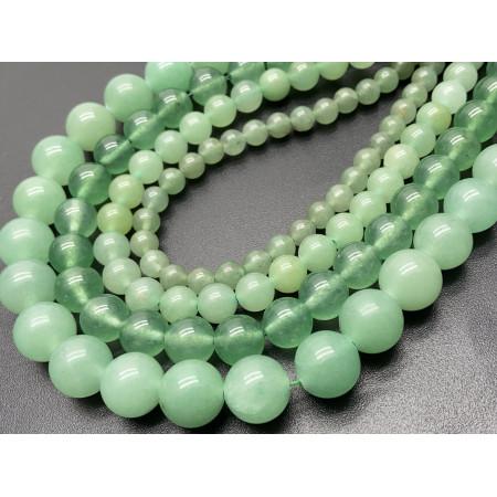 Каменные бусины, Авантюрин, зеленый, имитация, шарик гладкий, 10 мм, длина нити 38 см