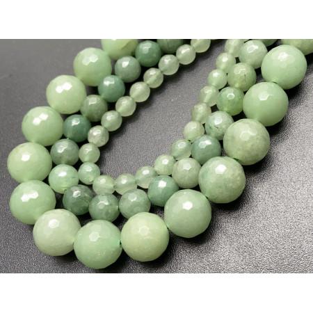 Каменные бусины, Авантюрин, зеленый, имитация, шарик огранка, 12 мм, длина нити 38 см