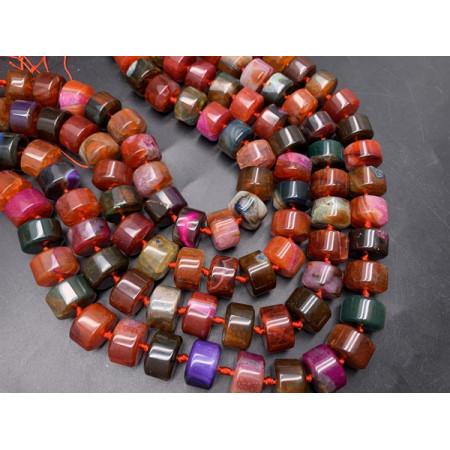 """Каменные бусины, Агат, тонированный, """"Леденцы"""", микс цветов, шайба 15х9 мм, длина нити 38 см"""