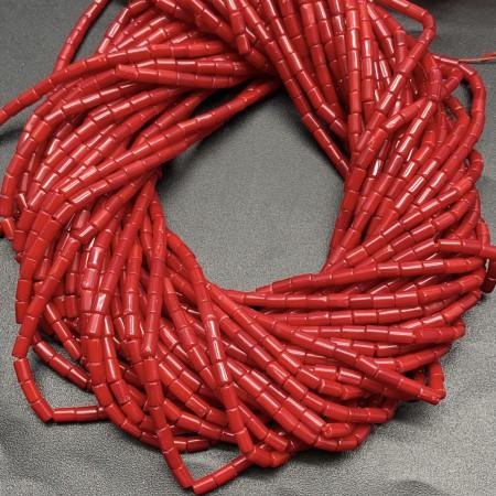 Каменные бусины, Коралл, красный, тонированный, трубочки, 3х5 мм, длина нити 38 см