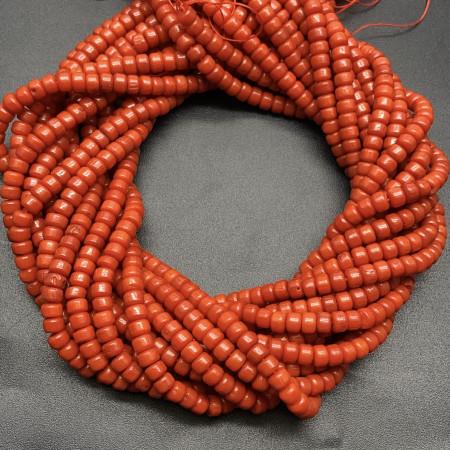 Каменные бусины, Коралл, оранжевый, столбики, 4х5 мм, длина нити 38 см