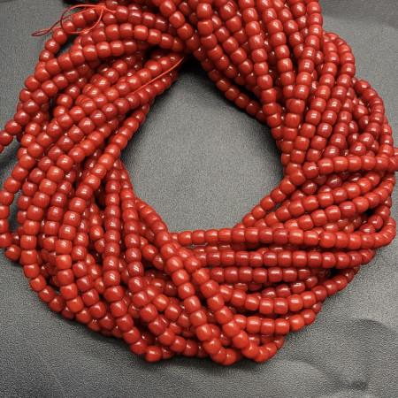 Каменные бусины, Коралл, красный, тонированный, столбики, 3х5 мм, длина нити 38 см