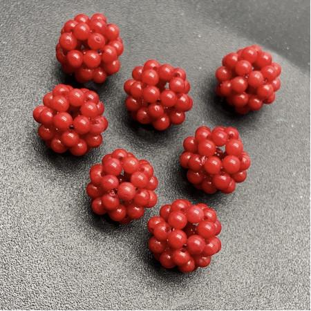 Каменные бусины, Коралл, красный, тонированный, плетённая бусина из кораллов, 12 мм, цена за 1 шт