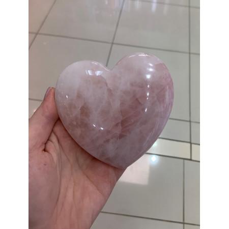 "Сувенир, Розовый Кварц, ""Сердце"" объёмное , 100x95 мм, толщина 26 мм, цена за шт"