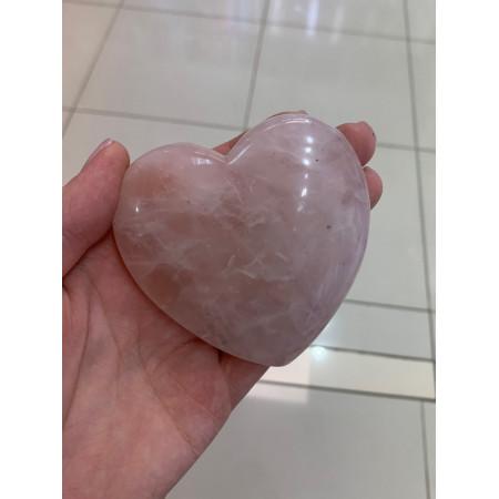 "Сувенир, Розовый Кварц, ""Сердце"" объёмное , 85x82 мм, толщина 30 мм, цена за шт"
