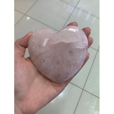 "Сувенир, Розовый Кварц, ""Сердце"" объёмное , 98x95 мм, толщина 26 мм, цена за шт"