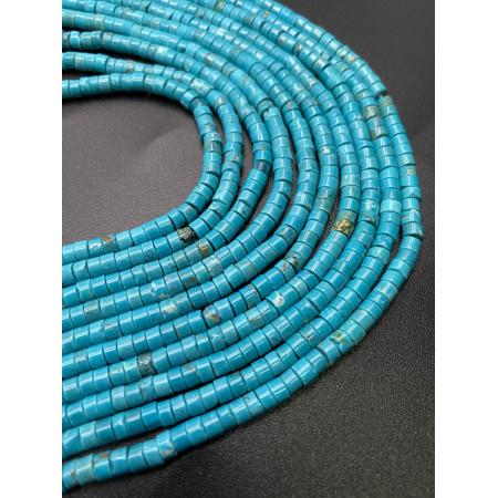 Каменные бусины, Бирюза, ярко-голубая, 4х2, длина нити 38 см