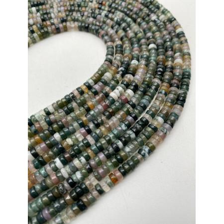 Каменные бусины, Индийская зелёная Яшма, 4х2, длина нити 38 см
