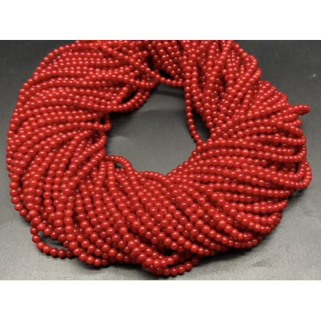 Каменные бусины, Коралл, красный, тонированный, шарик гладкий, 3 мм, длина нити 38 см