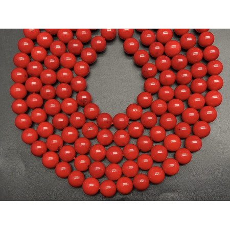 Каменные бусины, Коралл, красный, тонированный, шарик гладкий, 10 мм, длина нити 38 см