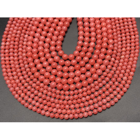 Каменные бусины, Коралл, розовый, шарик гладкий, 4 мм, длина нити 38 см