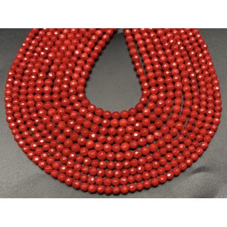 Каменные бусины, Коралл, красный, тонированный, шарик огранка, 3 мм, длина нити 38 см