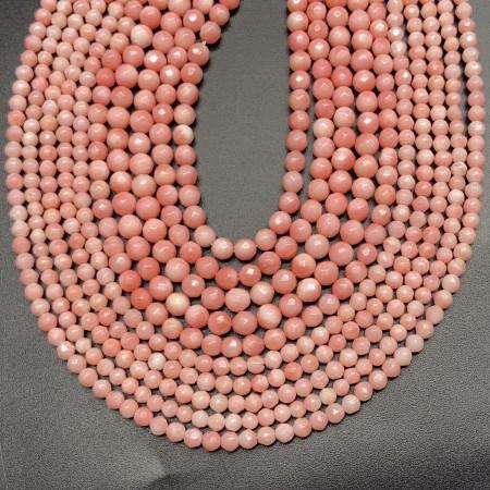 Каменные бусины, Коралл, розовый, шарик огранка, 3 мм, длина нити 38 см