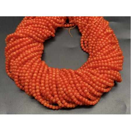 Каменные бусины, Коралл, оранжевый, шарик гладкий, 3 мм, длина нити 38 см