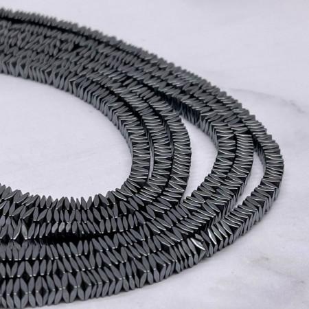 Каменные бусины, Гематит, темное серебро, размер 4х1 мм, длина нити 38 см