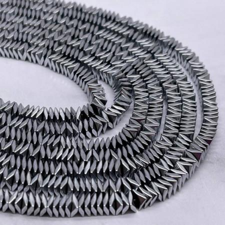 Каменные бусины, Гематит, серебро, размер 4х1 мм, нить 38 см