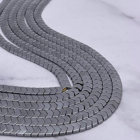 Каменные бусины, Гематит, серебро, размер 6х3 мм, нить 38 см