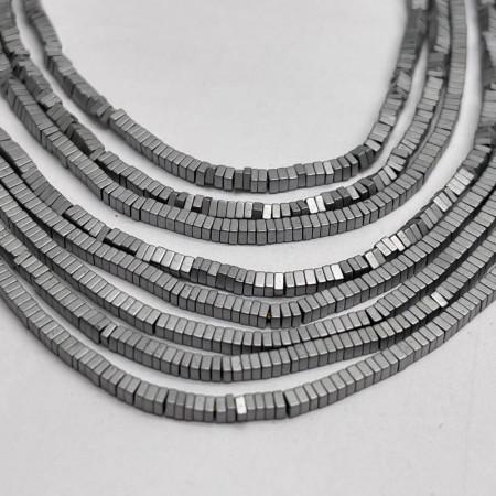 Каменные бусины, Гематит, серебро, матовый, размер 1х2 мм, нить 38 см