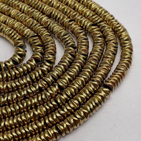 Каменные бусины, Гематит, золото, размер 6х1 мм, нить 38 см