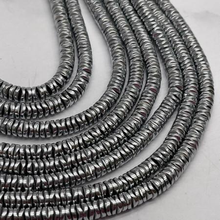 Каменные бусины, Гематит, серебро, размер 6х1 мм, нить 38 см