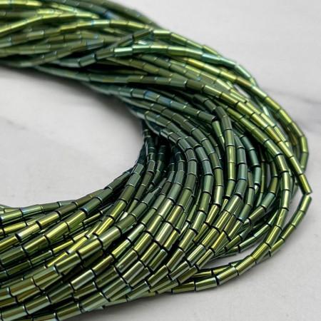 Каменные бусины, Гематит, зеленый, трубочки, размер 4х2 мм, нить 38 см