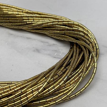 Каменные бусины, Гематит, золото, трубочки, размер 4х2 мм, нить 38 см