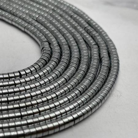 Каменные бусины, Гематит, серебро, размер 4х2 мм, нить 38 см