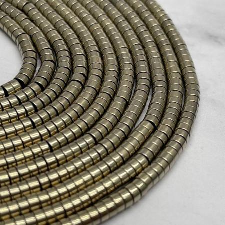 Каменные бусины, Гематит, золото, размер 4х2 мм, нить 38 см