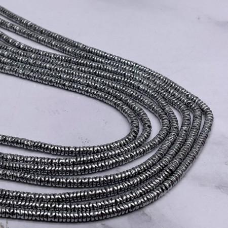 Каменные бусины, Гематит, серебро, размер 4х1 мм, длина нити 38 см