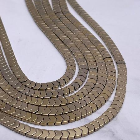 Каменные бусины, Гематит, золото, размер 6х3 мм, нить 38 см