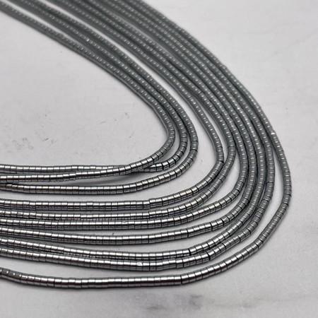 Каменные бусины, Гематит, серебро, размер 1х1 мм, нить 38 см